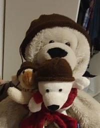 Für meine drei Eisbären sind im Dezember drei Mützen entstanden. Dieses Jahr gibt es farblich passende Schals.