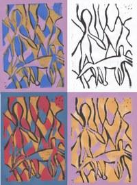 In der 10. Klasse hatten wir den Auftrag einen Künstler vorzustellen und dann ein Werk das ihn und uns vereint zu schaffen. Ich hatte Andy Warhol, einen Popart Künstler der viele Siebdrucke gemacht hat. Nun war Siebdruck bei uns nicht möglich, also hab ich einen Linoldruck mit meiner Vorliebe für Tiere und Abstraktes kombiniert.