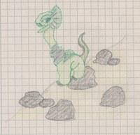 Die Echse ist ebenfalls während des Studiums entstanden. Die Entstehung war ganz lustig. Aus Langeweile habe ich Punkte aufs Papier gemacht und daraus dann die Echse entwickelt.