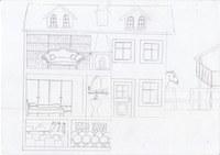 Im Künstlerischen Profil der 10. Klasse haben wir ein Theaterstück aufgeführt mit diesem Thema. Dazu wurde eine Broschüre gestaltet. Mein Auftrag war die Villa zu zeichnen mit allen Orten die für das Stück relevant sind.