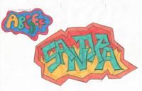 Während einer Vertretungsstunde haben wir die Aufgabe bekommen Grafitis zu entwerfen. Ich glaube das war in der 9. Klasse.