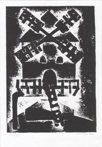 Druck einer Bockwindmühle zum Mühlenprojekt in der 6. Klasse. Die einzelnen Schichten sind entstanden indem Papierstreifen übereinander geklebt wurden. Durch die verschiedenen Stärken entstand die Druckvorlage.