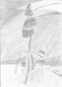 Diese Zeichnung ist im Kunstunterricht der 5.Klasse entstanden. Als Übung sollten wir ein Bild mit Bleistift abzeichen.