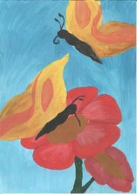 Dieses Bild ist während der 8. Klasse entstanden. Die Blüten finde ich ganz gut, bei den Schmetterlingen fehlt es an Feinheiten.