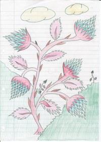 Im Kunstunterricht hatten wir mal die Aufgabe eine Pflanze auf einem fremden Planeten zu zeichnen. An dieses Thema habe ich gedacht als in der 9. Klasse diese Zeichnung entstand.