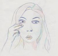 Skizze mit mehrfarbigen Buntstift und Kugelschreiber
