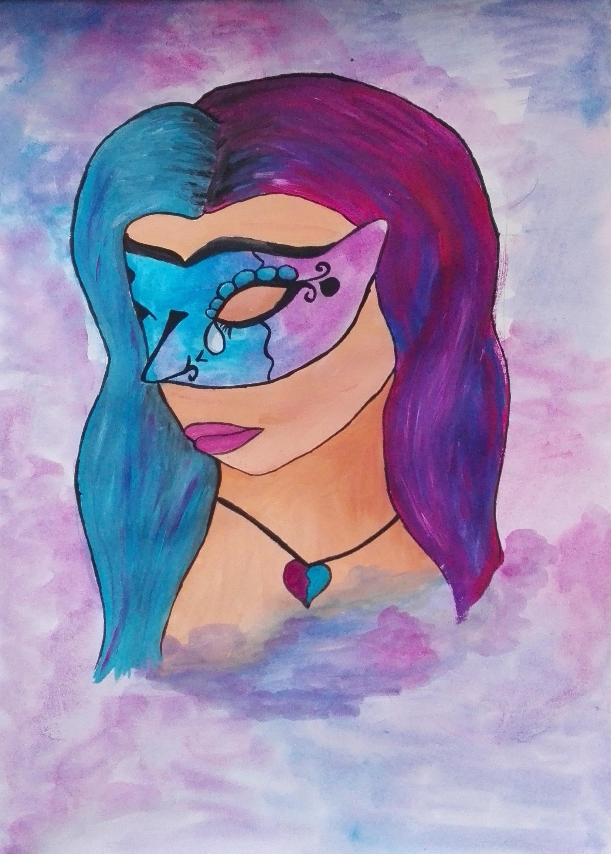 Mal ein gemaltes Portrait, wobei ich sagen muss, die Nase habe ich etwas versaut. Durch das Muster wirkt die ziemlich Spitz und zieht die Aufmerksamkeit auf sich... aber schwarz lässt sich nicht mit Aquarellblau übermalen...