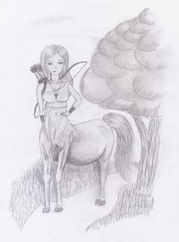 Als Teil ihrer Ausbildung begibt sich diese junge Zentaurin auf Wanderschaft... eine Zeichnung, die ich extra für die Eröffnung dieser Kategorie erstellt habe.