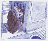"""aus dem Film """"Susi und Strolch"""". Kugelschreiber-Zeichnung mit Buntstift"""