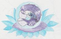 Die Aufgaben waren: Buntstifte, 2 Farben, Lila, Charakter, weiblich, Kind, lange Haare, Tattoo, Fantasy, Meerjungfrau