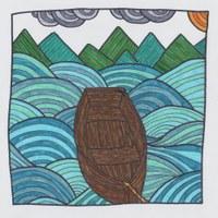 Landschaft in Filzstift, inspiriert von den Ausmalbüchern für Erwachsene