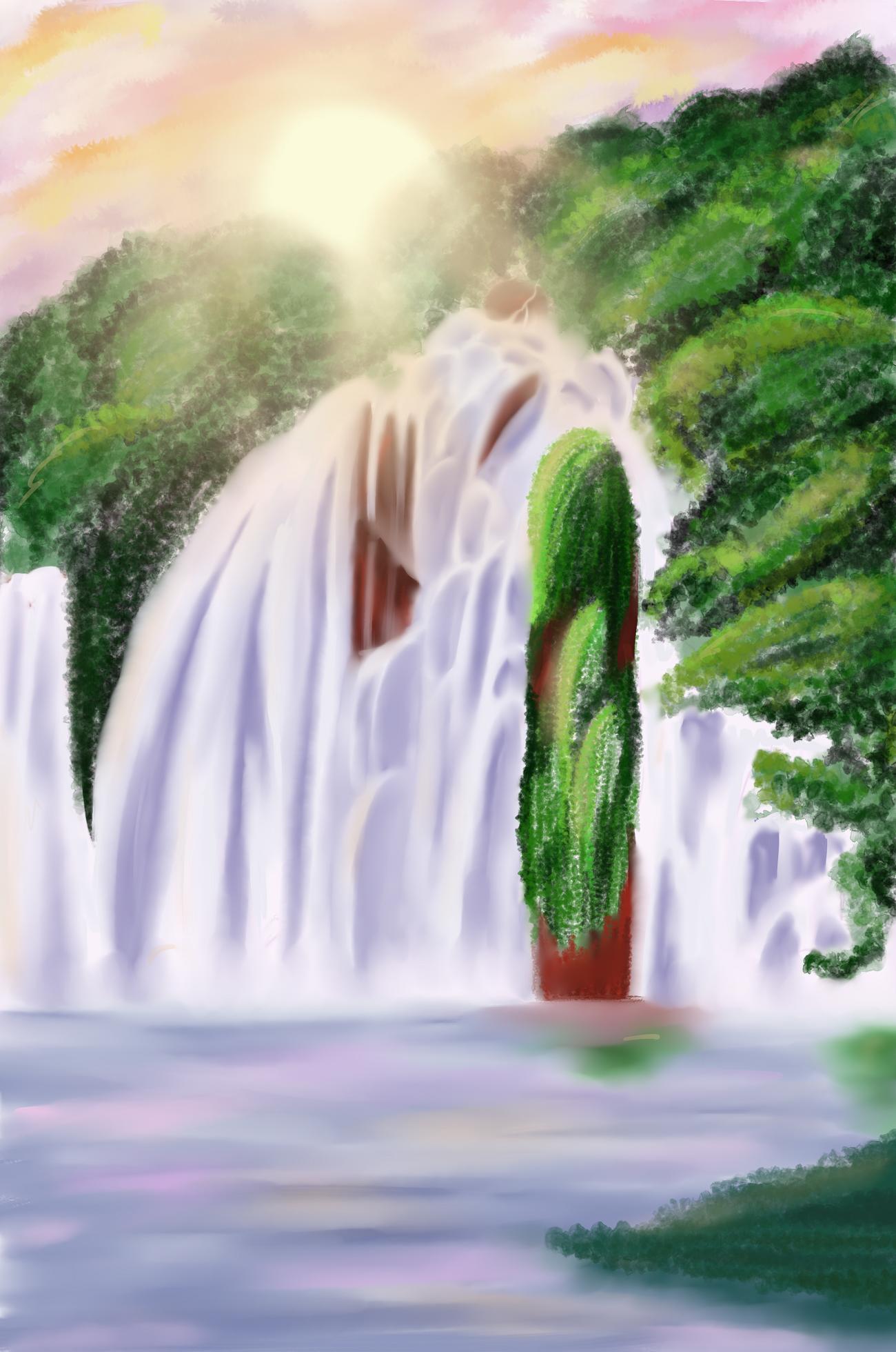 Wasserfall bei Sonnenuntergang