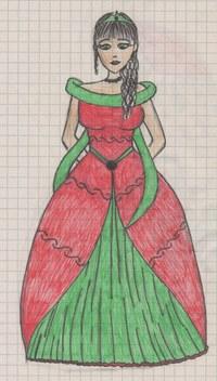 Eine Fineliner-Zeichnung aus der Studienzeit. Leider hat der rote Stift beim Rock etwas den Geist aufgegeben