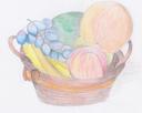 Jetzt wirds bunt. Ich zeichne ja selten mit bunten Stiften, aber dieser Obstkorb zeigt es geht auch nicht nur grau!