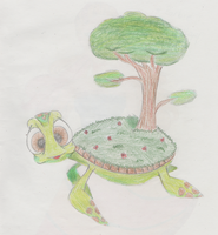Inspiriert von dem Sinnbild der Schildkröte, die eine Welt auf dem Rücken trägt