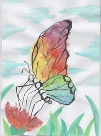 Wasserfarbenversuch. Wirkt im Endeffekt sehr kindlich. Der Versuch galt den Flügeln mit Farbverlauf.